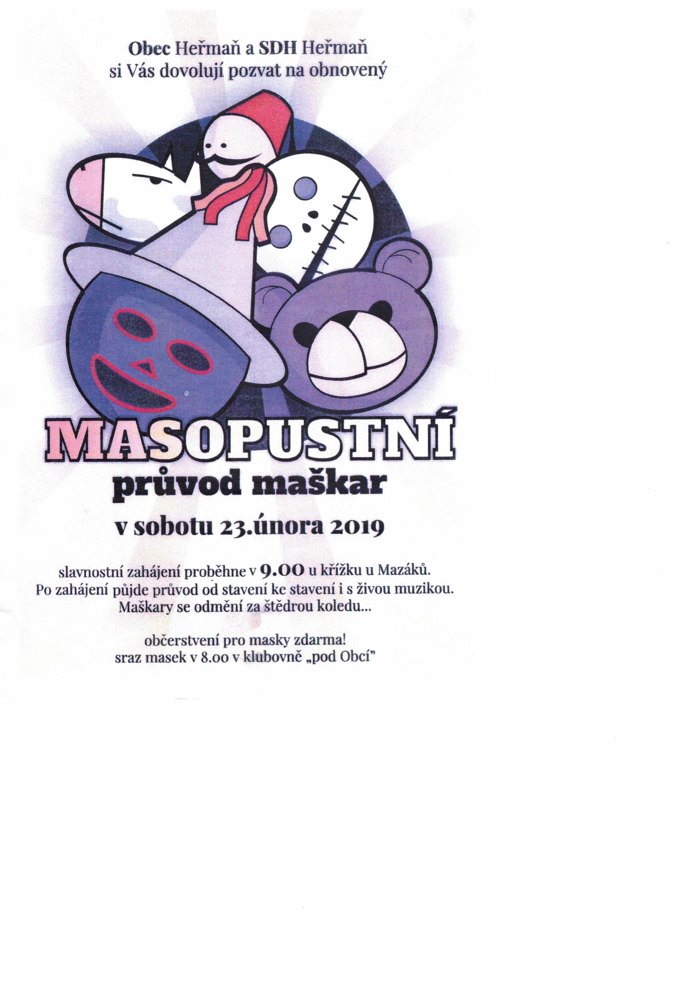 plakát masopustní průvod maškar